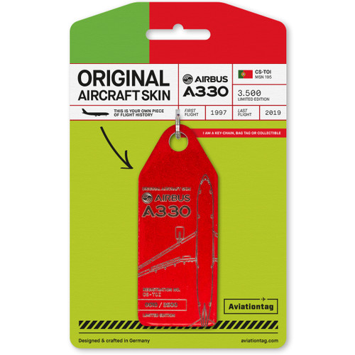 AviationTag Airbus A330-200 Keychain - CS-TOI (Red)