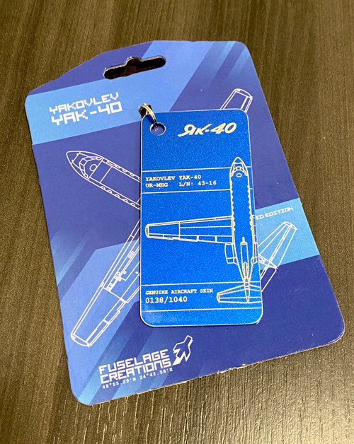 Fuselage Creations YAK-40 Key Tag (Bright Blue)