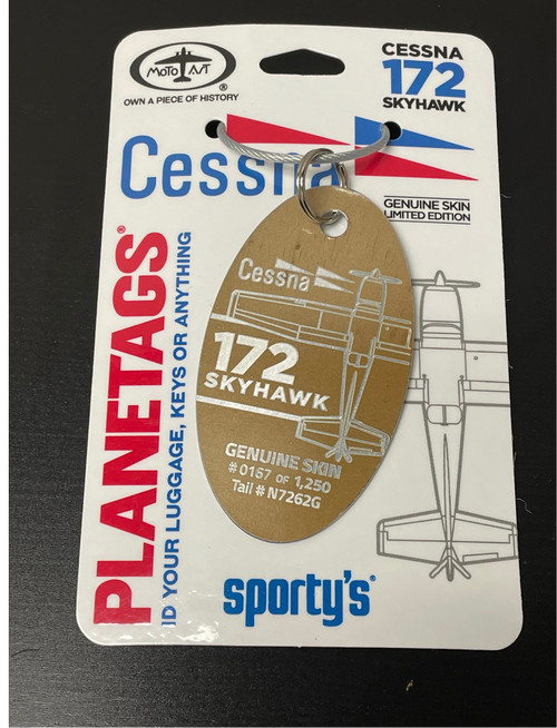 PlaneTags Cessna C-172 Keychain  -  N7262G / Brown