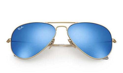 Ray-Ban Aviator Gold Frame Blue Flash Sunglasses
