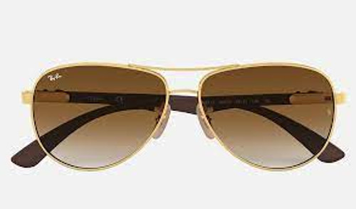 Ray-Ban Carbon Fibre and Gold Frame Brown Gradient Sunglasses