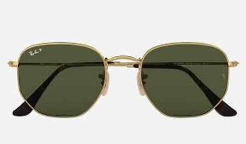 Ray-Ban Hexagonal Gold Frame Green Classic Sunglasses