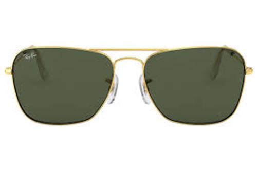 Ray-Ban Caravan Gold Frame Green Classic Sunglasses