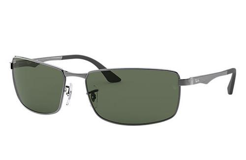 Ray-Ban Rectangle Gunmetal Frame Green Classic Sunglasses