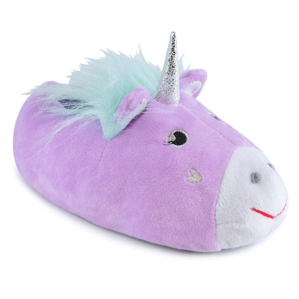 0b72300f1 Girls 3D Lilac Unicorn Padded Fleece Novelty Slippers   Heat Treats