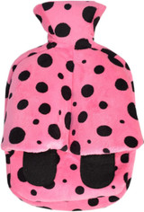 Cuddlesoft Hot Water Bottle Footwarmer: Pink & Black Spots
