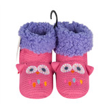 Girls Pink & Purple Owl Crochet Knitted Slipper Boots