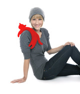 Red Minina Cat Heatable Neck Warmer Pillow