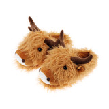 Fuzzy Friends Highland Cow Adults 3D Novelty Slippers