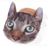 Brown Tabby Cat Photo Fleece Novelty 3D Giant TV Slippers
