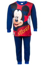 Boys Disney Mickey Mouse Character Print Long Pyjama Set: Navy Blue