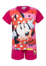 Girls Disney Minnie Mouse Character Short Pyjama Set: Berry Pink