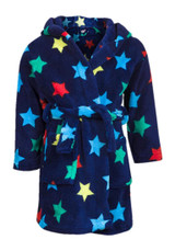 Toddler Boys Coloured Stars Soft Touch Fleece Hooded Bath Robe