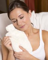 intelex cozy cream fur microwavable body warmer bottle