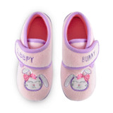 Toddler Girls Sleeping Bunny Pink Fleece Moulded Sole Slippers