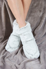 Warmies Cozy Body Grey Marshmallow Fur Heatable Boots