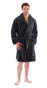 Mens Grey Chevron Super Soft Fleece Shawl Collar Bath Robe