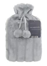 Cosy Faux Fur Pom Pom 2L Hot Water Bottle: Ash Grey