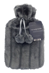 Cosy Faux Fur Pom Pom 2L Hot Water Bottle: Charcoal