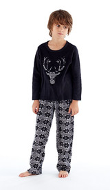 Boys Applique Stags Head Fleece Fair Isle Bottom Pyjamas: Black & Grey