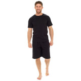 Mens Button Placket Top Plain Cotton Jersey Short PJs Set: Black