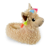 Girls 3D Brown Lllama Curly Fur Novelty Slippers