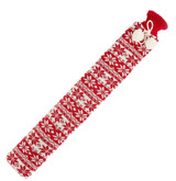 Red Fair Isle Cover Extra Long Tubular PVC Hot Water Bottle