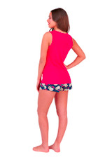 Ladies Red & Navy Out Of Office Cocktails Print Short Pyjama Set