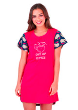 Ladies Red & Navy Out of Office Cocktails Print Sleepy Tee