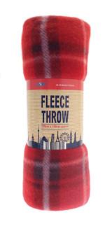 Tartan Check Fleece Throw Picnic Blanket 120x 150cm: Red