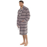 Mens Horizontal Stripe Coral Fleece Collared Bath Robe: Grey