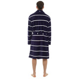 Mens Horizontal Stripe Coral Fleece Collared Bath Robe: Blue