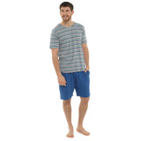 Mens Striped T-Shirt Top & Contrast Short Bottoms Jersey PJs Set: Blue & Grey