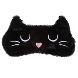Sleepy Pussy Cat Soft Faux Fur Novelty Sleep Mask: Black