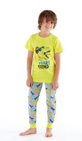 Boys Bright Dinosaur Print Pyjama Set: Long Bottoms
