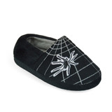 Boys Spider Web Soft Velour Fleece Closed Back Slippers: Black