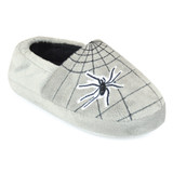 Boys Spider Web Soft Velour Fleece Closed Back Slippers: Grey