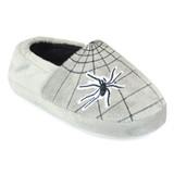 Boys Spider Web Soft Velour Fleece Closed Back Slippers: Grey