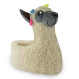 Girls Cream Llama Curly Fur 3D Novelty Slippers