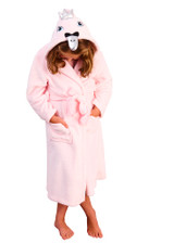 Girls Pink Swan Cosy Fleece 3D Novelty Hood Bath Robe