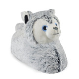 Unisex Kids Grey Husky Plush Faux Fur 3D Novelty Slippers
