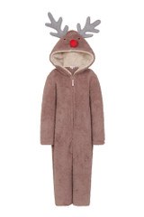 Unisex Kids Novelty Hood Reindeer Snuggly Fleece Onesie