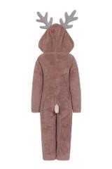 Unisex Kids Novelty Hood Reindeer Snuggly Fleece Onesie