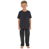 Boys Striped T-Shirt Top & Contrast Long Bottoms PJs Set: Grey