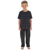 Boys Striped T-Shirt Top & Contrast Long Bottoms PJs Set: Grey