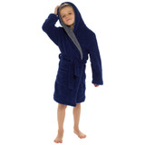 Boys Super Snug Shaggy Fleece Contrast Hood Bath Robe: Navy