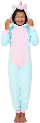 Girls Aqua & Pink Fleece Unicorn Novelty 3D Hood Onesie