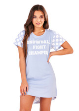 Ladies Snowball Fight Champion Pastel Blue Sleepy Tee