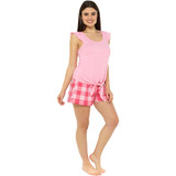 Ladies Giant Gingham Check Jersey Ruffle Top Short PJs Set: Pink