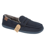 Jo & Joe Mens New Hampshire Navy Faux Suede Fur Lined Moccasin Slippers